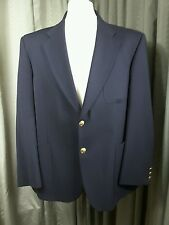 Marks & Spencer Wool Blend Navy Gold Button Patch Pocket Blazer 42S EXC COND