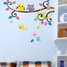 Removable Vinyl Flower Owl Tree Cartoon Wall Stickers Decal Home Room Decor Art