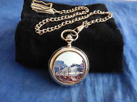 NEW YORK CENTRAL TRAIN CHROME POCKET WATCH WITH CHAIN (NEW)