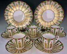 Antique Davenport Polychrome Green Purple 5 Cups 5 Saucers 2 Serving Plates