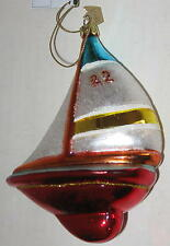 """Blown Glass Sail Boat Ornament - Red Hull Approx 5"""""""
