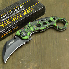 """7"""" Spring Assisted Open Tactical Karambit Green Skull Claw Folding Knife New!"""
