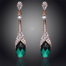 GORGEOUS 18K GOLD PLATED GREEN AND CLEAR AUSTRIAN CRYSTAL LONG DANGLE  EARRINGS
