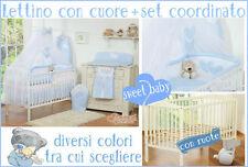 Lettino bimbo culla neonato bianco/marrone con ruote + materasso + set 3 pezzi
