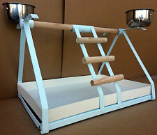WHITE SMALL PARROT BIRD METAL PLAYSTAND Play Gym With Stainless Steel Cups -444