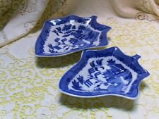 BLUE WILLOW SM & LG LEAF SET RELISH NUT CANDY DISH SOAP BOWLS ASIAN ORIENTAL