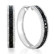 1.50 Carat Black & Natural White Diamond Hoop Earrings In Rhodium-Plated Bronze