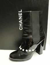 Chanel 14B Black Patent Leather Pearl Ankle Short Booties Boots Shoes 39 - $1595