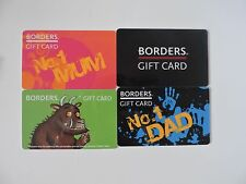 FOUR RARE BORDERS UK GIFT CARDS. NO VALUE. COLLECTORS ITEM