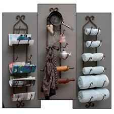 Metal Wall Mount Wine Rack Bottle Holder Towel Bathroom Kitchen