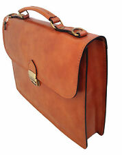 Made in Italy bag handbag man briefcase leather work laptop case tan 7004 US