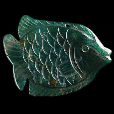 Y103462 58x42x7 Moss Agate Carved Fish Pendant Bead