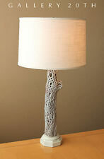 MID CENTURY MODERN DESERT WOOD RUSTIC TABLE LAMP! Vtg 50s Eames White Home Decor