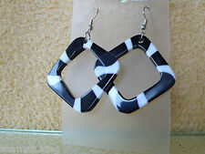 Black & Grew & White Ohranhänger Ohrschmuck - Ohrringe Earrings Fashion Jewelry