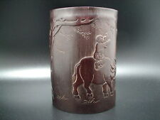 RARE ANCIEN POT PINCEAUX VAQUERO BAMBOU BAMBOO BRUSH POT ANTIQUE