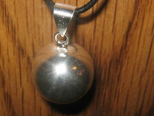 USA 20MM GLOBE SHINY SILVER BOLA SPHERE HARMONY BELL BALL CHARM PENDANT NECKLACE
