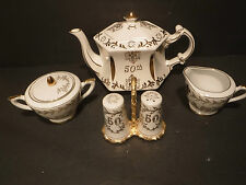 Lefton 50th Anniversary Creamer, Sugar & Salt & Pepper Set Tea Pot By Ellgreave