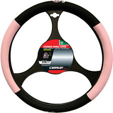 BRAND NEW CAR INTERIOR PINK & BLACK LADYBIRD STEERING WHEEL COVER