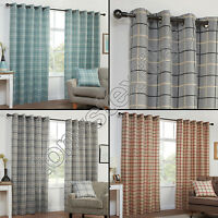 TEXTURED CHECK STRIPED RING TOP LINED PAIR EYELET CURTAINS RED GREY BLUE CREAM