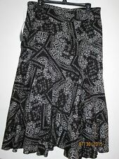 RALPH LAUREN sz. 12 NEW$119.00 BLACK & WHITE PAISLEY FLARED LINED SKIRT - $24.00