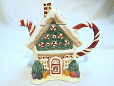 Vintage Sakura Christmas Cinnamon Candy Cane House Tea Pot- Ceramic