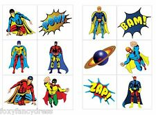 24 Boys Super Hero Temporary Tattoos Children's Birthday Loot Party Bag Filler