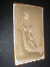Cdv old photograph boy walking stick by Hughes Portmadoc c1880s