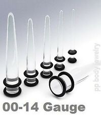 12pcs. 00g 0g 2g 4g 6g 8g Clear Acrylic Straight Tapers Ear Stretching Kit!