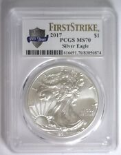 "2017 Silver Eagle Ase $1 ~ Pcgs Ms-70 Fs ""225Th Ann Us Mint"" Label ""Ships Now"""