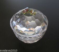 Signed Crystal Trinket Treasure Box + Replaced Colorful Swarovski mini Butterfly