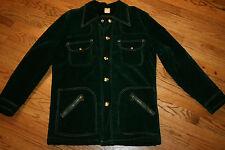 Vintage Green Crushed Velvet Coat Snap fleece-lined Jacket Men's Medium/hippie