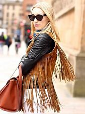ZARA Brown Suede Leather Waistcoat Gilet with Fringes M 10 12 14 BNWT BLOGGERs !