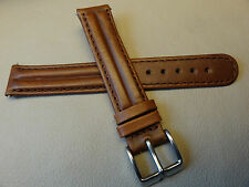 New Brown Double Padded Genuine Oil Leather 16mm Watch Band Chrome Buckle $11.95