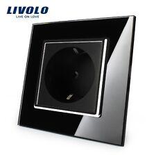 Original Livolo SET aus 2 Steckdosen Schwarz Glas und 2 Touch Lichtschalter Weiß