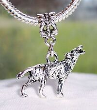 Wolf Animal Sanctuary Woods Zoo Dangle Bead for Silver European Charm Bracelets