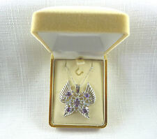 2.75 ct Amethyst/Topaz & Diamond Solid 925 Sterling Silver Butterfly Necklace