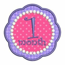 Applique Baby Girl Month Age Numbers Machine Embroidery Design CD 4x4 5x7 Hoop