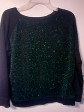 Forever 21 Green Sparkly Metallic Pullover Sweater w Black Sleeves, Size S