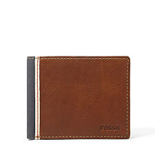 NEW FOSSIL MEN'S LEATHER ELGIN TRAVELER CREDIT CARD ID WALLET BROWN