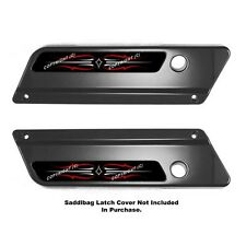 2 Saddlebag Latch Reflector Insert Decals for 93-13 Harley RED WHITE PIN STRIPE
