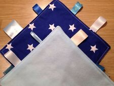 Handmade Blue Stars Taggy Fleece And Cotton New Baby Gift