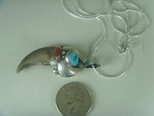 Bear Faux Claw Pendant .925 Sterling With Turquoise & Red Coral & Snake Chain