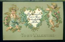 CHERUBS HOLDING HEART ROSES FORGET ME NOTS Vintage TO MY VALENTINE 1907 Postcard