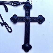 "Large Black Martyrs Medieval Cross  Necklace Gothic 20"" Halloween"