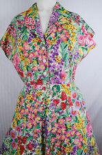 Vintage 50s Flora Botanical Print Shirt Dress Large XL Floral Spring