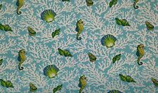 "MILL CREEK KITTERY AQUA BLUE SEAHORSE SEASHELL OUTDOOR FABRIC BY THE YARD 54""W"