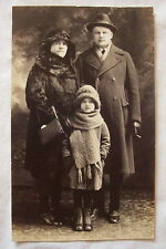 RPPC antique real photo postcard Detroit Michigan family fur coat in winter