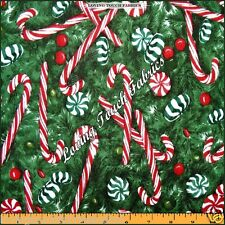 """ROBERT KAUFMAN CHRISTMAS TREE PEPPERMINT CANDY CANES FABRIC 1/2 YD 18"""" X 44"""""""