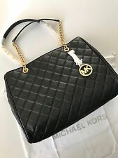 Michael Kors Susannah Black Quilted Leather Chain Shoulder Bag Large Tote NWT