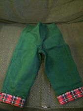 NEW YOUTH DISNEY STORE GREEN PANTS RED PLAID TRIM SIZE 24 MONTHS!